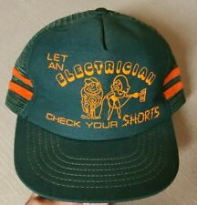 """VTG Trucker Snapback Mesh Hat """"Let an Electrician Check Your Shorts"""" Green"""