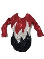Gk Elite Competition Gymnastics Dance Leotard Long Sleeve Sparkle M Medium Red