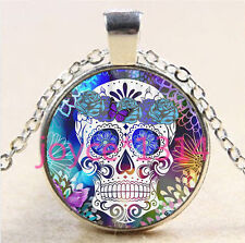 Sugar Flower Skull Cabochon Tibetan silver Glass Chain Pendant Necklace #5998