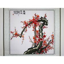 """Chinesisches Bild """"Pflaumenblüte im Frühling"""", Stickbild, Stoffbild, Stickkunst"""