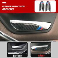 4PCS Carbon Fiber Interior Door Handle Stickers Trim For BMW F30 F34 2013-2017