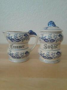 Vintage Blue Onion Porcelain Creamer and Sugar W/Lid Set of 2 Japan