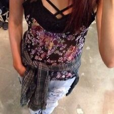LF TIENDAS Negro Morado Floral Corto Largo Camiseta Raso De Tirantes Top