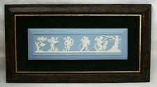 WEDGWOOD JASPER WARE SEASON WHITE ON BLUE FRAMED CHERUB WALL PLAQUE BOXED