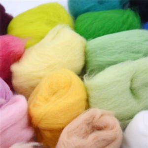 15 Color Super Soft Wool Fibre Roving Set For Needle Felting Hand Spinning DI;AU