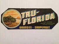 TRU-FLORIDA Brand, Tavarse, Citrus, Indian, **AN ORIGINAL FRUIT CRATE LABEL*