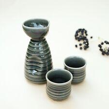 Handmade Japanese sake set with 2 cups in green wasabi glaze