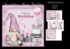 Birthday Gnomes Kits 01 Decoupage 3 A4 Sheets THESE ARE NOT PRE-CUT