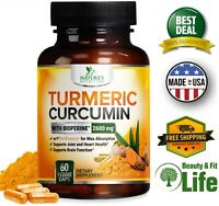 TURMERIC CURCUMIN with BioPerine Black Pepper 2600 mg Capsules Joint Pain Relief