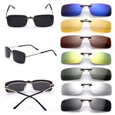 Polarized Night Vision  Driving UV 400 Clip-on Flip-up Lens Sunglasses Glasses