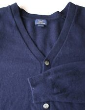 Brooks Brothers Mens Navy Red Cardigan Sweater Lambswool Blend Large