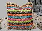 Moroccan Pillow Wedding Blanket Handira Cover Colorful Berber Metal Sequins