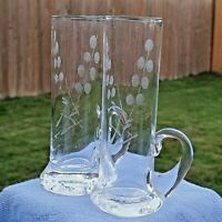 "Lot of 8 Vintage Etched Floral Shot Cordial Glasses w applied handles 4"""
