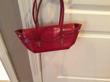 Tod's Red East/West Baguette Leather 12 Inches Long Unsnapped