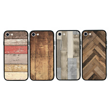WOOD EFFECT | Case Glass Back Bumper Cover for iPhone 7 8 PLUS X XS MAX XR