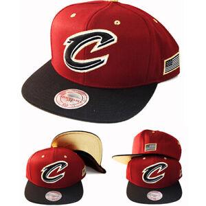 Mitchell & Ness Cleveland Cavaliers Snapback Hat Burgundy Metallic Gold Tip Cap