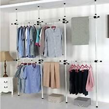 Adjustable DIY Movable Garment Rack Coat Hanger Clothes Wardrobe 4 Poles 6 Bars