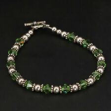 """Sterling Silver - 5mm Green Ball Bead Strand 8"""" Toggle Bracelet - 10.5g"""