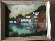 Fishing Village, original maritime Folk art signed, vintage, early 1900's oil