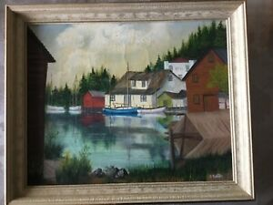 Fishing Village, original maritime Folk art signed, vintage, early 1900's oil