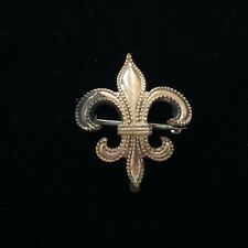 "Clasp & Watch Hook Beaded Edge 1 â…›"" Antique Fleur de Lis Watch Pin Gold Tone C"