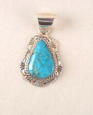 Beautiful Navajo Handmade Kingman Turquoise Pendant Set In Sterling Silver