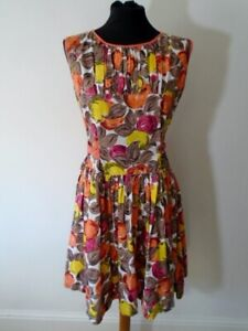 Original 1950s 60s Vintage Cotton Dress Novelty Print Abstract Fruit UK 10