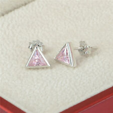 PINK TRIANGLE earrings ladies girls genuine S925 sterling silver matt