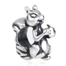 Squirrel Charm Bead 925 Sterling Silver