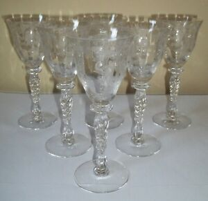 "SIX Tiffin Byzantine DESSERT WINE / CORDIALS GLASSES 6-1/4"" Stem 15037 2 oz"