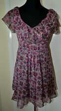 Warehouse Vintage Floral Ruffle V-neck Tie back Tea Dress UK size 8, euro 36