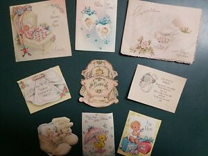 Vintage 1950s &60s  Cards,  Baby Themed, Lot Of 9