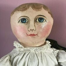 Museum Antique Emma Adams Columbian American Oil Painted Cloth Doll with Photo