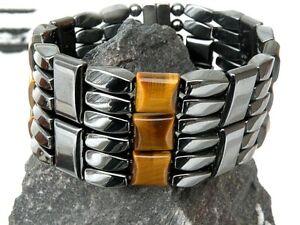 6 ROW Men's POWERHOUSE SERIES Magnetic Hematite Brown Tiger Eye Bracelet 6 row