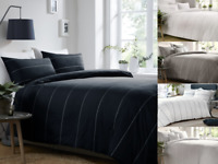 Contemporary Appletree Salcombe Embroidered Cotton Duvet Cover & Pillowcase Set