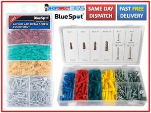 BlueSpot Wall Anchor Plugs & Metal Screw Assortment 285 Pieces Set NEW UK 40542