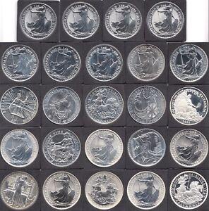 1997 - 2020 Complete Date Run Silver Britannia £2 24 x Fine Silver Coins Mint