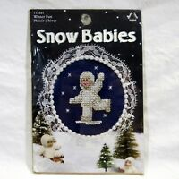 Snow Babies Counted Mini Cross Stitch Kit Winter Fun Christmas Craft Leisure Art