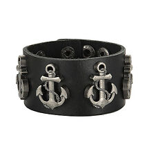 Genuine Leather Bracelet Bangle Cord Anchor Nautical Black Vintage Punk Bracelet