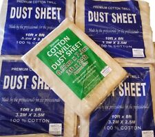 FIVE PACK HEAVY DUTY DECORATORS 100% COTTON TWILL DUST SHEET INCLUDES STAIRCASE