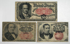 U.S. Fractional Currency 1874-75 5th Iss. 10; 25; 50 Cents P-122-124 VG to F (3)