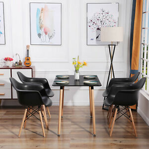Esstisch mit 4 Esszimmerstühle Essgruppe Schwarz Tisch und Sessel für Esszimmer