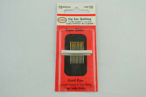 Colonial Big Eye Quilting Needles Size 10 Super Glide Gold Eye Entaco CBSG12510