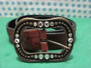 Vintage - Men's Belt Genuine Leather, With Buckle Metal, CM 110 x 3,5