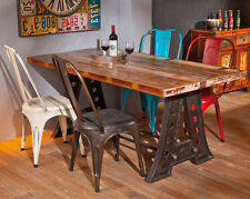 Industrial Dining Table Vintage Retro Rustic Reclaimed Furniture Large Metal Leg