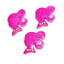 3 pcs Pink JUMBO glitter bow resin cabochon 54x40mm headband DIY