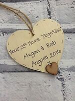 Personalised 1st Home/house warming/new home gift handmade wooden heart