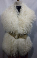 Natural White Mongolian Tibetan Lamb Fur Oversized Collar Vest made in U.S.A.