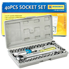 "Premium 40 Pieces 1/4"" & 3/8"" Drive Socket Set Tool Kit Torx Ratchet Driver"