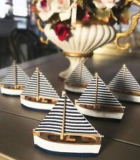 Blue & White Striped Wooden Sailing Boat 6pcs Wedding Favours Bonbonniere